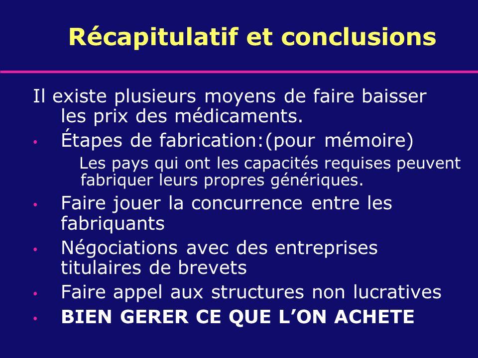 Récapitulatif et conclusions
