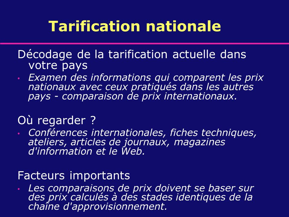 Tarification nationale