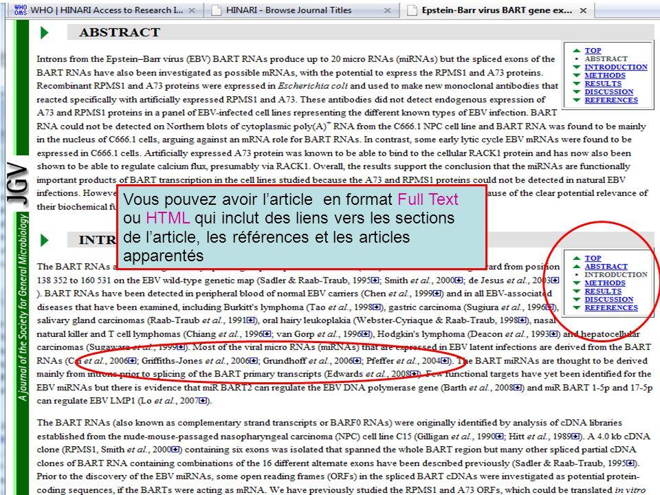 Vous pouvez avoir l'article en format Full Text ou HTML qui inclut des liens vers les sections de l'article, les références et les articles apparentés
