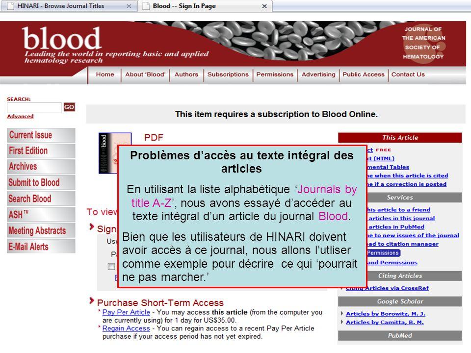 Problèmes d'accès au texte intégral des articles