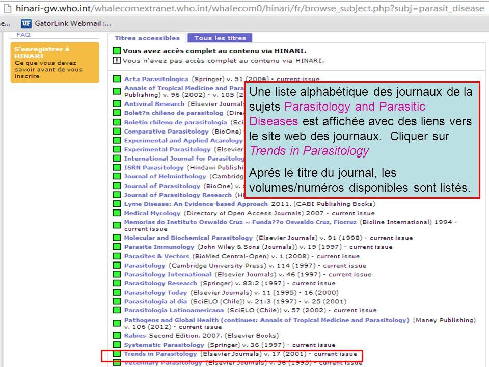 Une liste alphabétique des journaux de la sujets Parasitology and Parasitic Diseases est affichée avec des liens vers le site web des journaux. Cliquer sur Trends in Parasitology