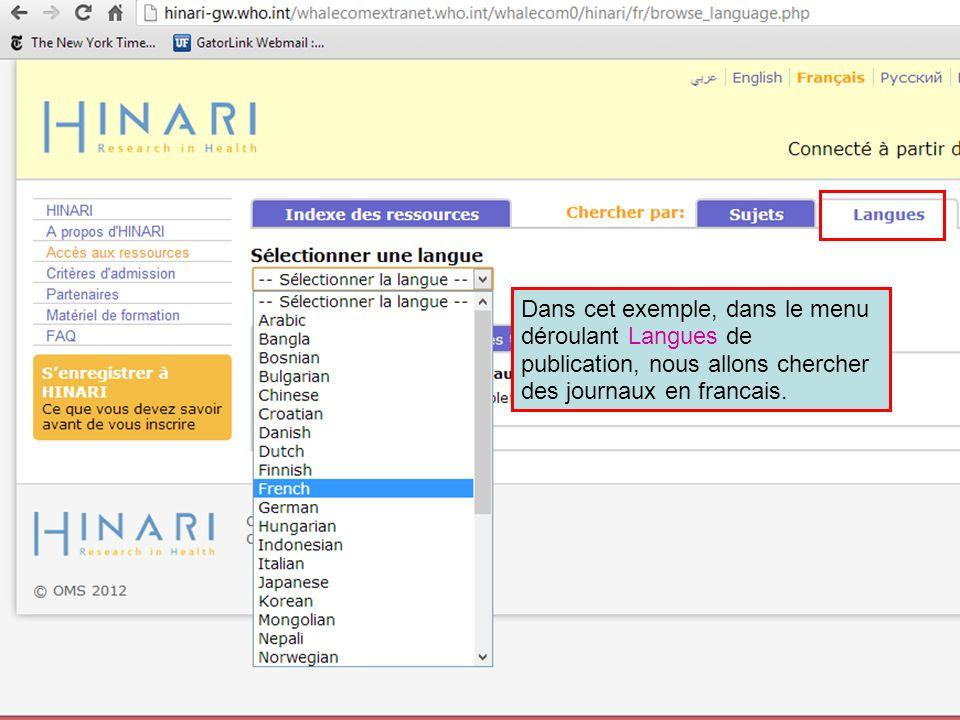 Dans cet exemple, dans le menu déroulant Langues de publication, nous allons chercher des journaux en francais.