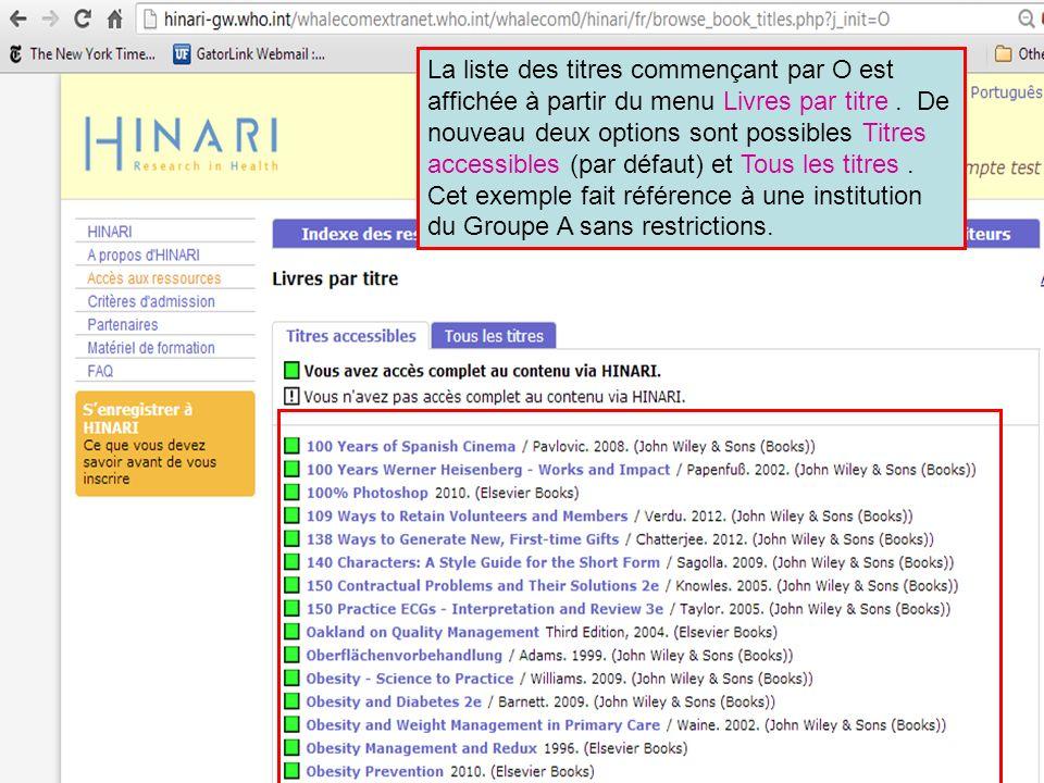La liste des titres commençant par O est affichée à partir du menu Livres par titre .