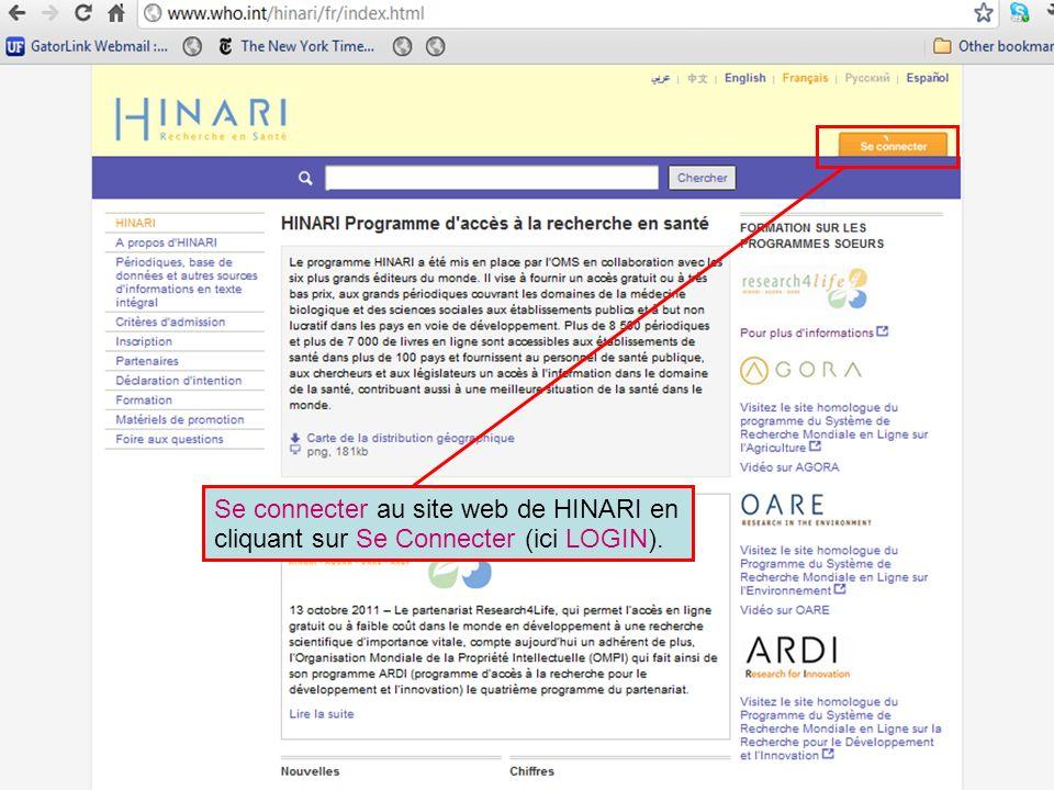 ` Se connecter au site web de HINARI en cliquant sur Se Connecter (ici LOGIN).