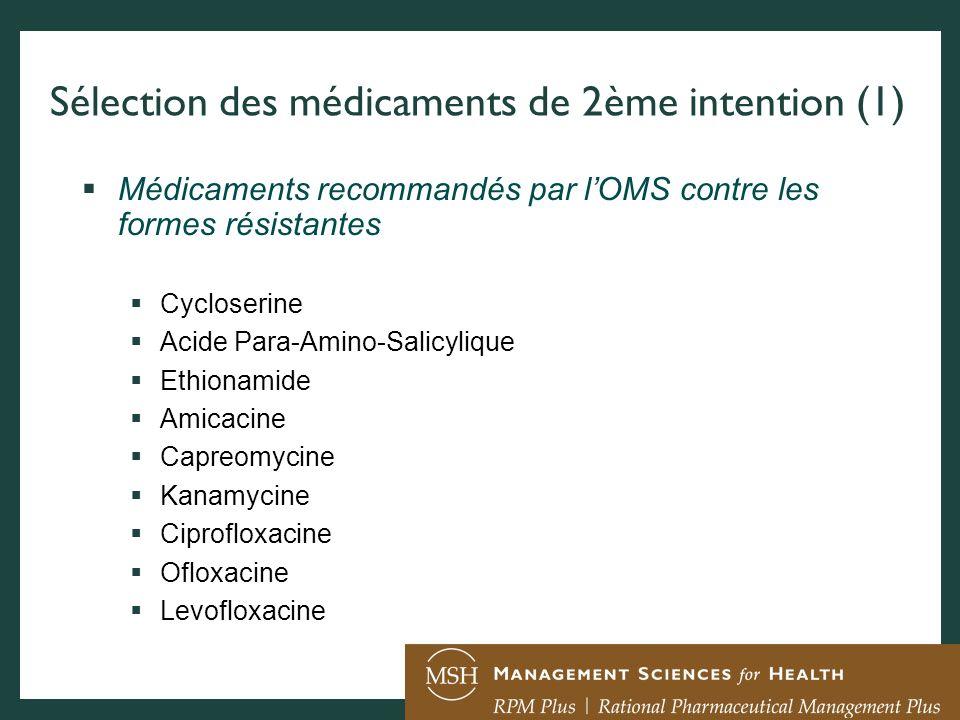 Sélection des médicaments de 2ème intention (1)