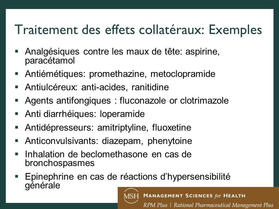 Traitement des effets collatéraux: Exemples