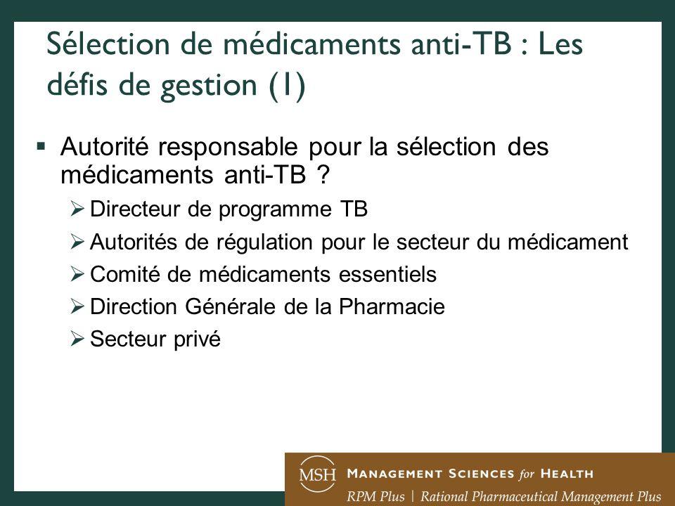 Sélection de médicaments anti-TB : Les défis de gestion (1)