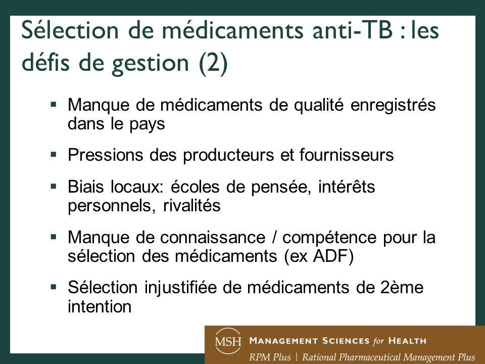 Sélection de médicaments anti-TB : les défis de gestion (2)