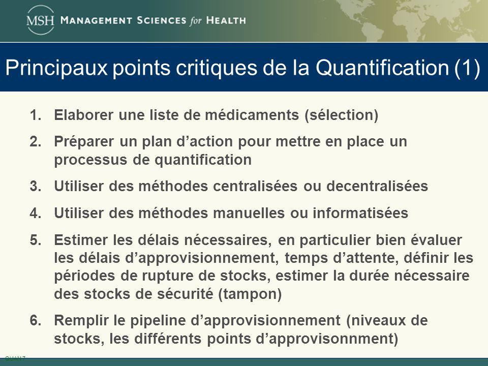 Principaux points critiques de la Quantification (1)