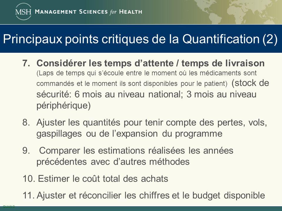 Principaux points critiques de la Quantification (2)