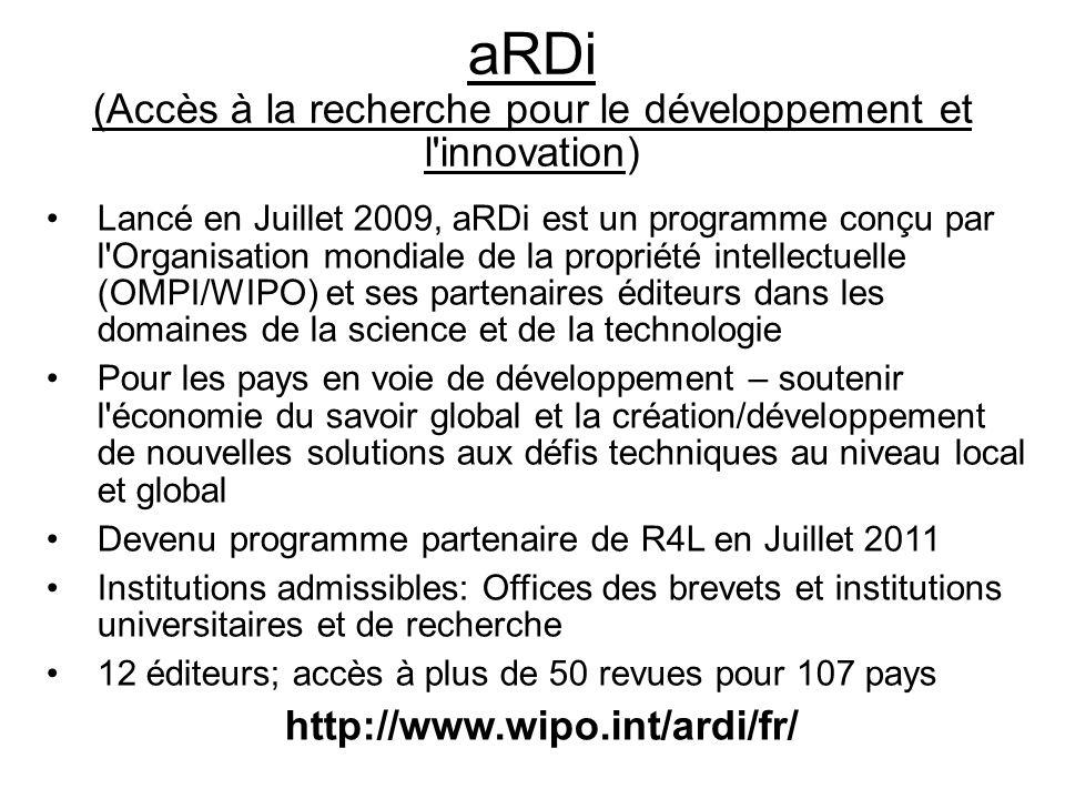 aRDi (Accès à la recherche pour le développement et l innovation)
