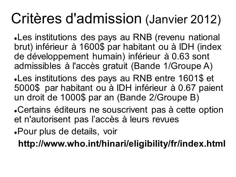 Critères d admission (Janvier 2012)