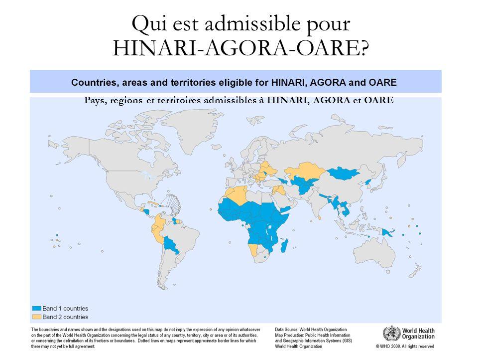 Pays, regions et territoires admissibles à HINARI, AGORA et OARE