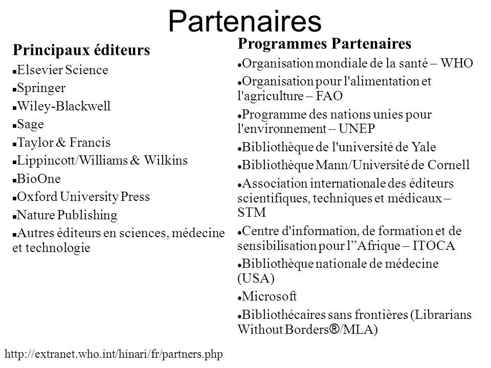 Partenaires Programmes Partenaires Principaux éditeurs