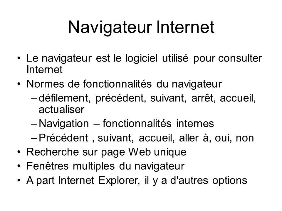 Navigateur InternetLe navigateur est le logiciel utilisé pour consulter Internet. Normes de fonctionnalités du navigateur.