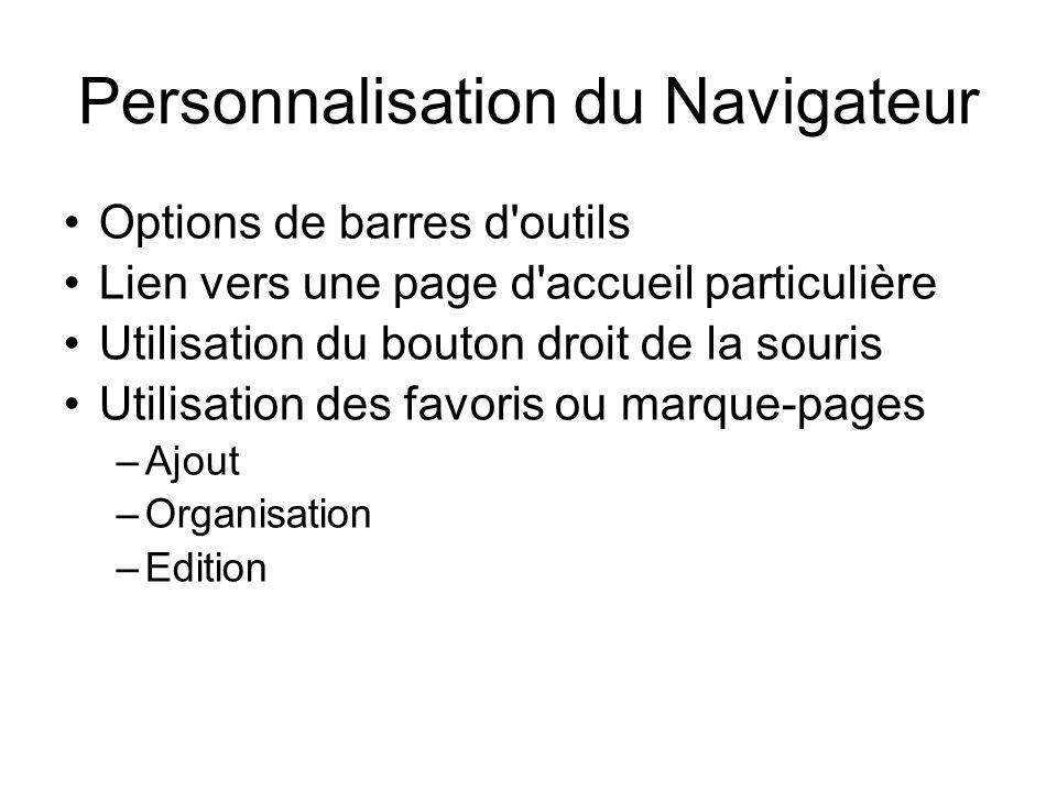 Personnalisation du Navigateur
