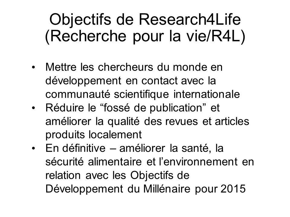Objectifs de Research4Life (Recherche pour la vie/R4L)