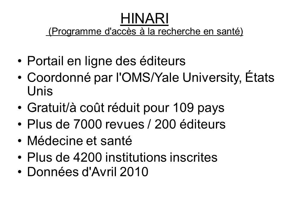 HINARI (Programme d accès à la recherche en santé)