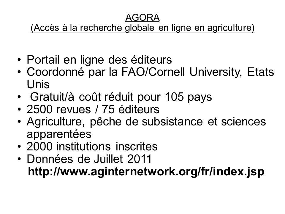 (Accès à la recherche globale en ligne en agriculture)