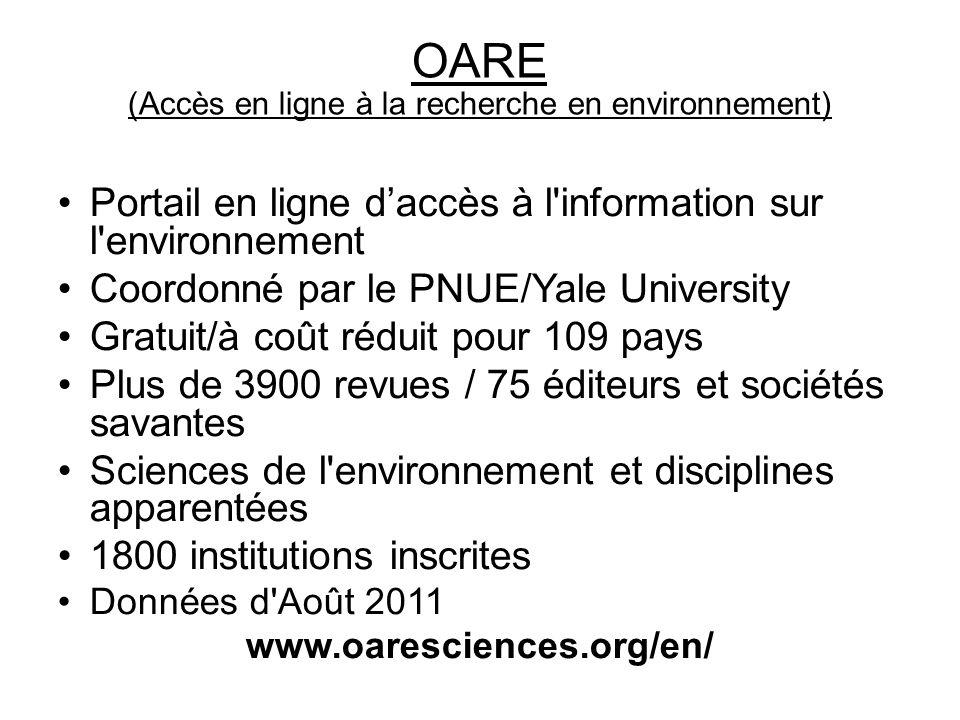OARE (Accès en ligne à la recherche en environnement)