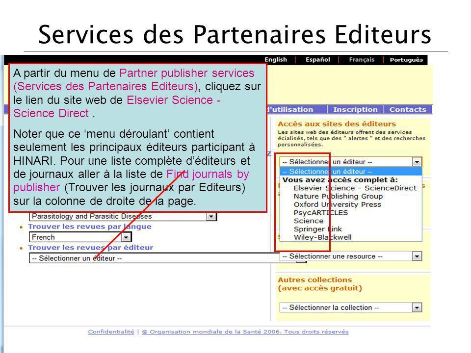 Services des Partenaires Editeurs
