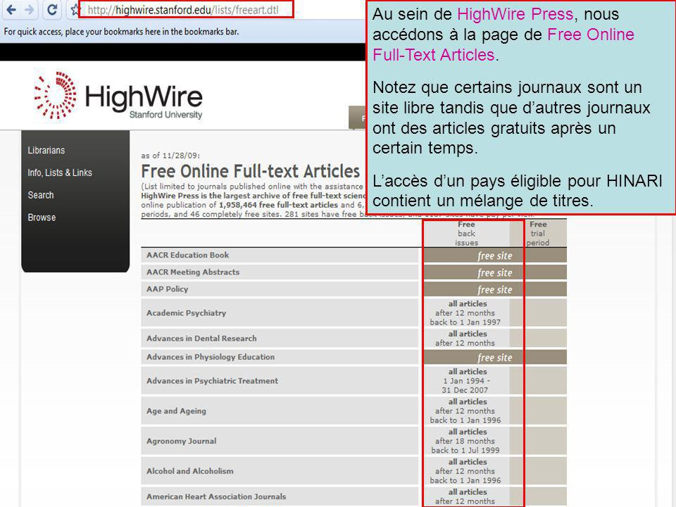 Au sein de HighWire Press, nous accédons à la page de Free Online Full-Text Articles.