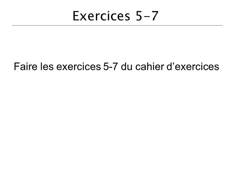 Faire les exercices 5-7 du cahier d'exercices