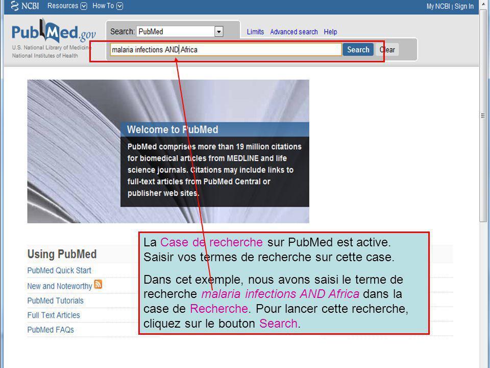 La Case de recherche sur PubMed est active