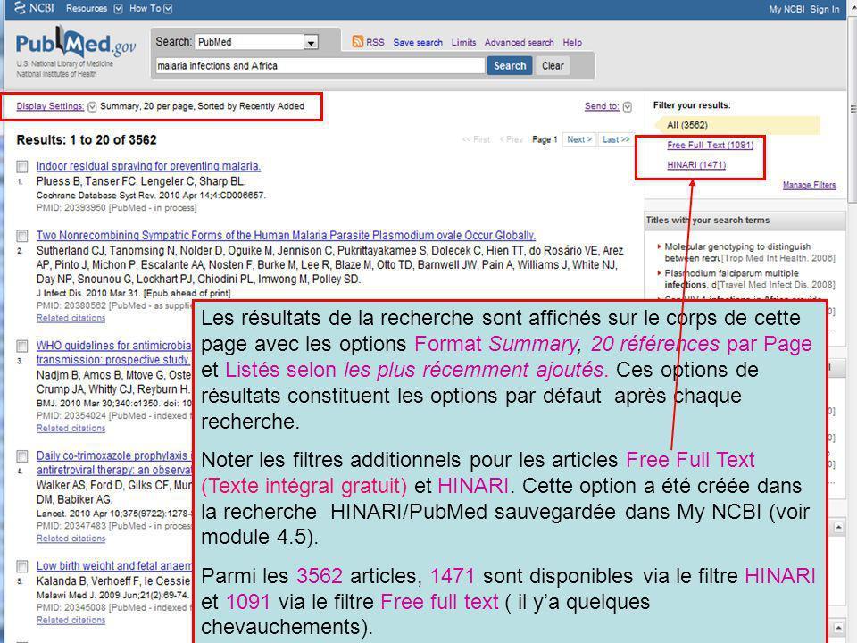 Les résultats de la recherche sont affichés sur le corps de cette page avec les options Format Summary, 20 références par Page et Listés selon les plus récemment ajoutés. Ces options de résultats constituent les options par défaut après chaque recherche.