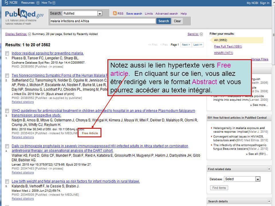 Notez aussi le lien hypertexte vers Free article