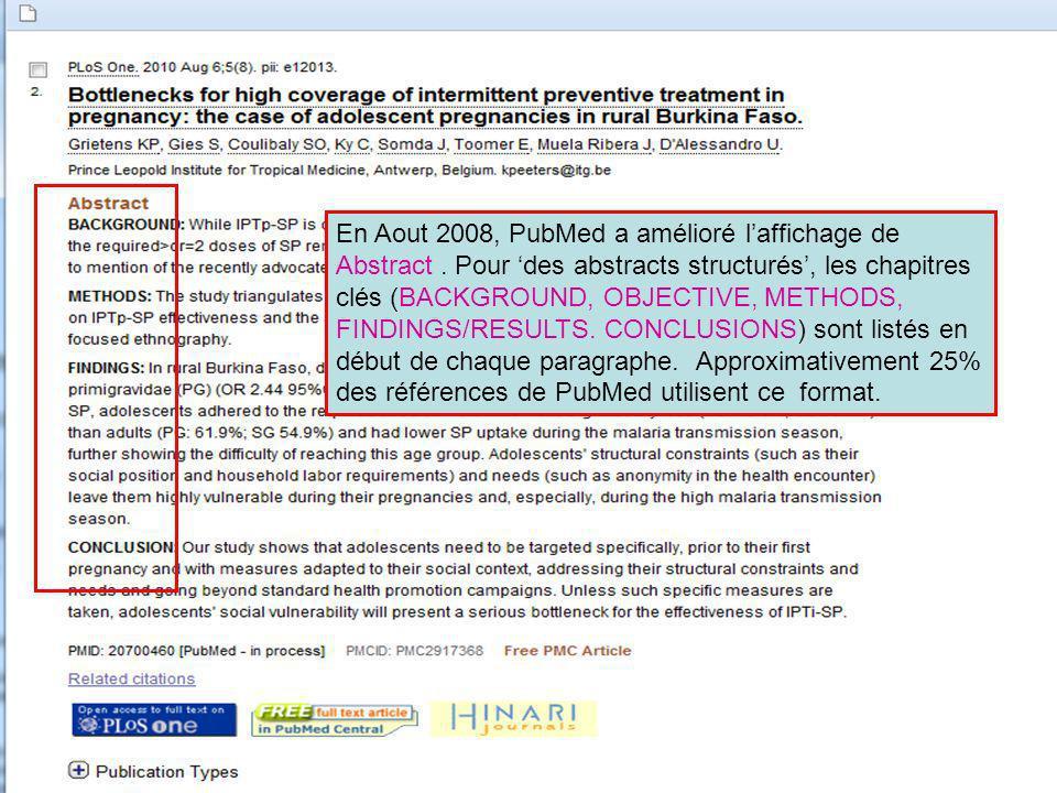 En Aout 2008, PubMed a amélioré l'affichage de Abstract