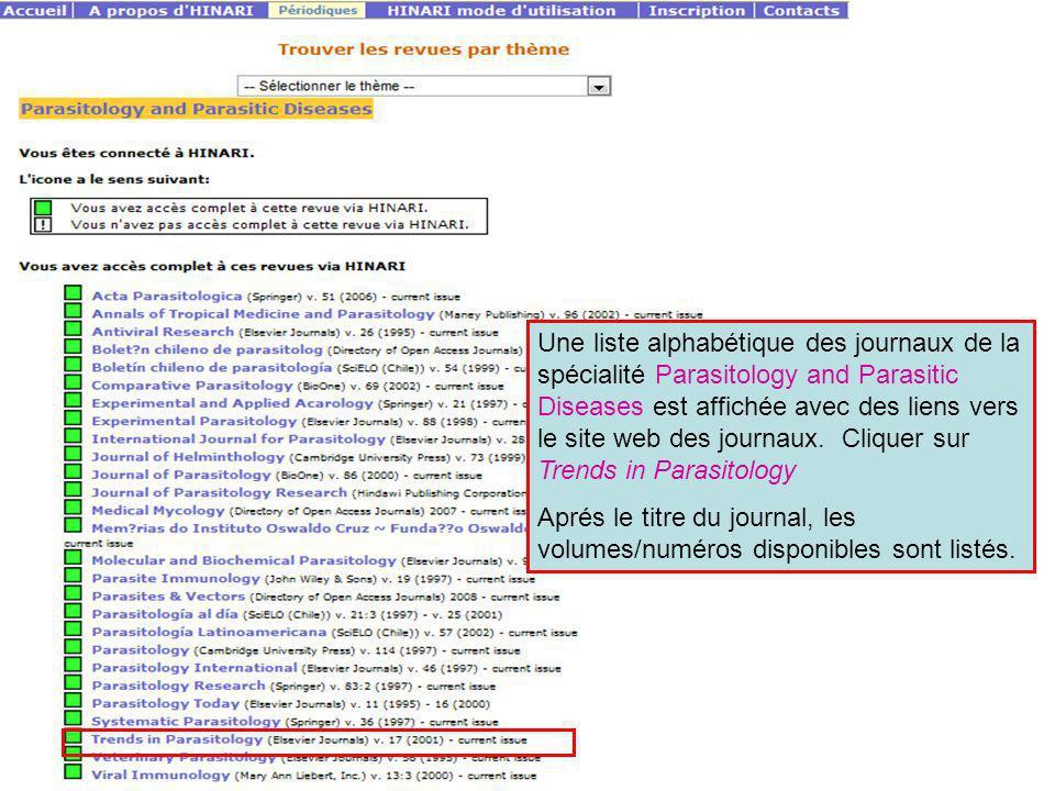 Une liste alphabétique des journaux de la spécialité Parasitology and Parasitic Diseases est affichée avec des liens vers le site web des journaux. Cliquer sur Trends in Parasitology