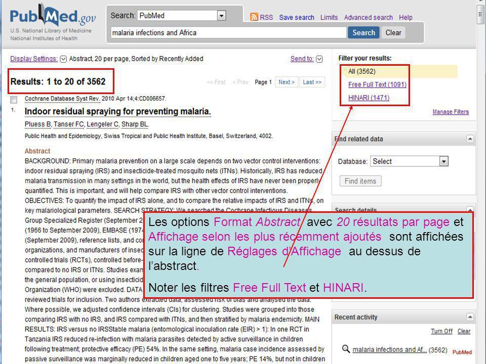 Les options Format Abstract avec 20 résultats par page et Affichage selon les plus récemment ajoutés sont affichées sur la ligne de Réglages d'Affichage au dessus de l'abstract.