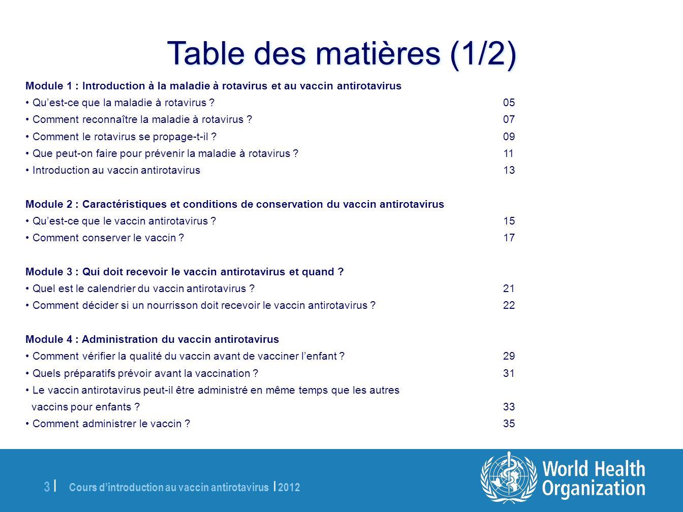 Table des matières (1/2) Module 1 : Introduction à la maladie à rotavirus et au vaccin antirotavirus.
