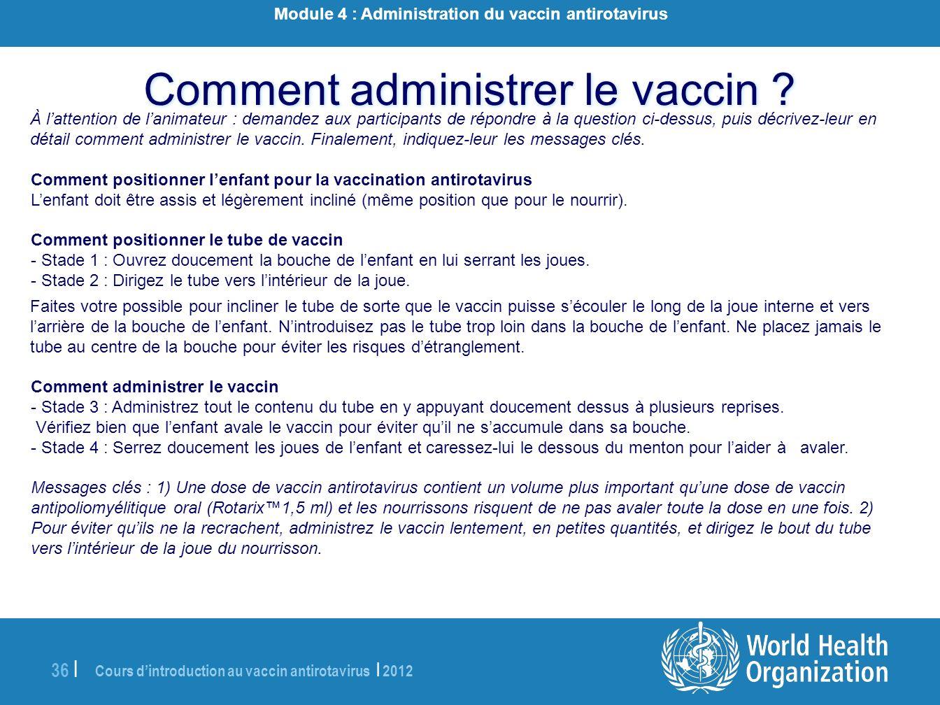 Module 4 : Administration du vaccin antirotavirus