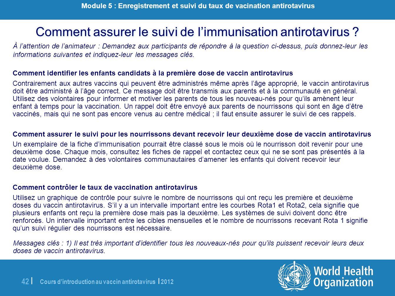 Module 5 : Enregistrement et suivi du taux de vacination antirotavirus