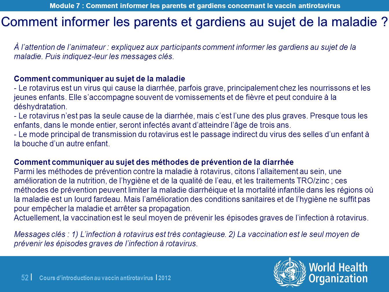 Comment informer les parents et gardiens au sujet de la maladie