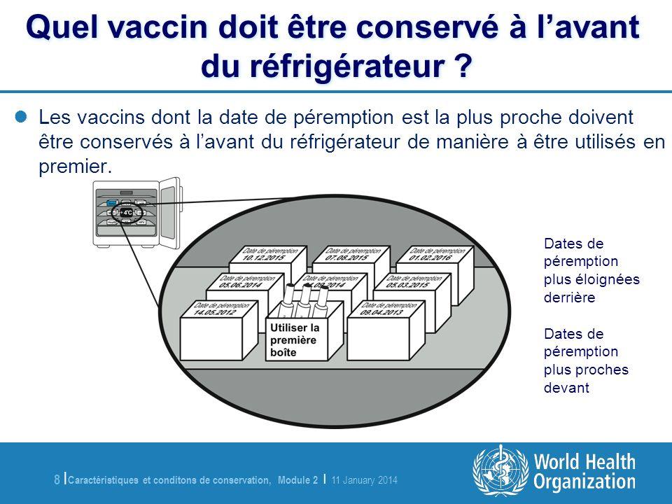 Quel vaccin doit être conservé à l'avant du réfrigérateur