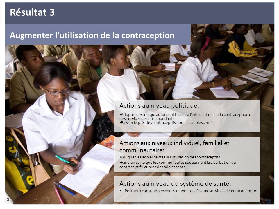 Résultat 3 Increase use of contraceptionAugmenter Augmenter l utilisation de la contraception. Actions au niveau politique: