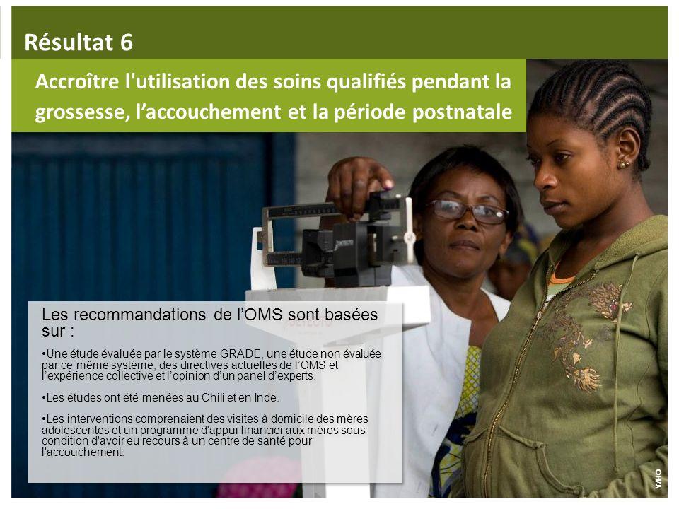 Résultat 6 Accroître l utilisation des soins qualifiés pendant la grossesse, l'accouchement et la période postnatale.