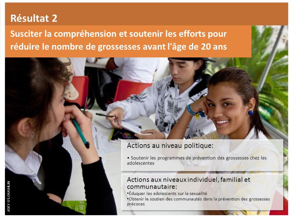 Résultat 2 Susciter la compréhension et soutenir les efforts pour réduire le nombre de grossesses avant l âge de 20 ans.