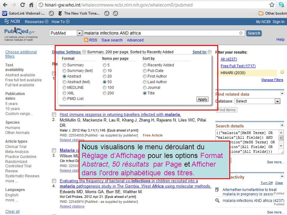 Nous visualisons le menu déroulant du Réglage d'Affichage pour les options Format Abstract, 50 résultats par Page et Afficher dans l ordre alphabétique des titres.
