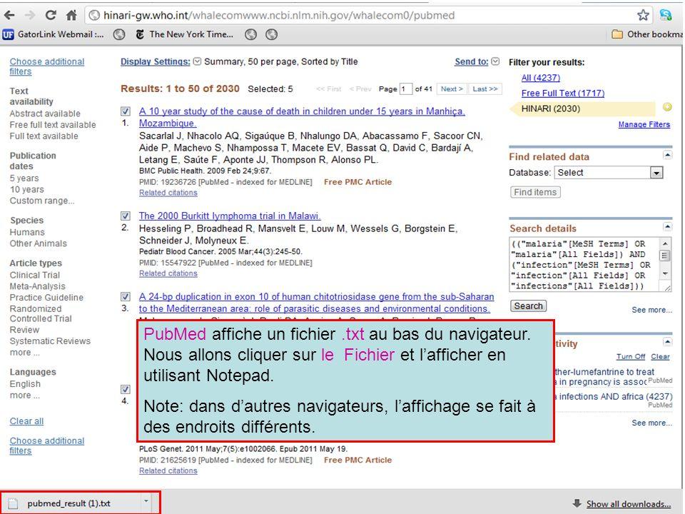 PubMed affiche un fichier. txt au bas du navigateur