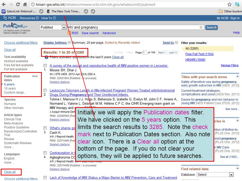 Initially we will apply the Publication dates filter