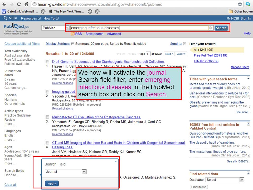 We now will activate the journal Search field filter, enter emerging infectious diseases in the PubMed search box and click on Search.