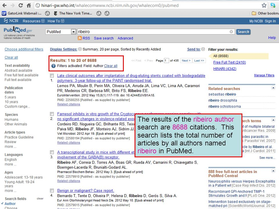The results of the ribeiro author search are 8688 citations