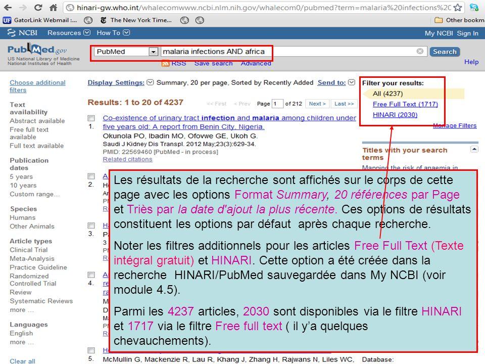 Les résultats de la recherche sont affichés sur le corps de cette page avec les options Format Summary, 20 références par Page et Triès par la date d ajout la plus récente. Ces options de résultats constituent les options par défaut après chaque recherche.
