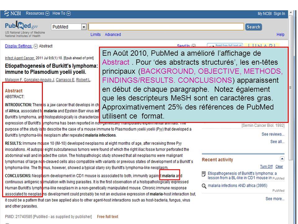 En Août 2010, PubMed a amélioré l'affichage de Abstract
