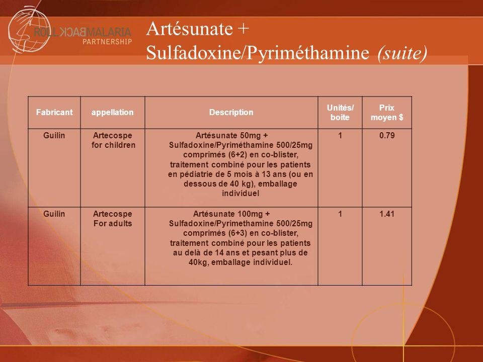 Artésunate + Sulfadoxine/Pyriméthamine (suite)