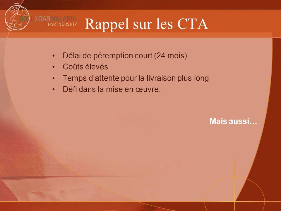 Rappel sur les CTA Délai de péremption court (24 mois) Coûts élevés